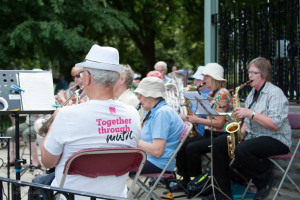 together-through-saxophones.jpg - Blake Gardens Summer Bandstand Lift-off!