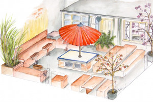 drawing-courtyard.jpg - Japanese Tea House in York