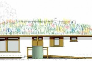 from the Plans - an elevation of the new building - we are not sure whether funding will stretch to a green roof, so an alternative would be cedar shingles.jpg - Perivale wood Centre (Project 21)