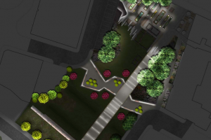 Screen grab of Roman Gardens at night.png - Roman Gardens, Castlefield