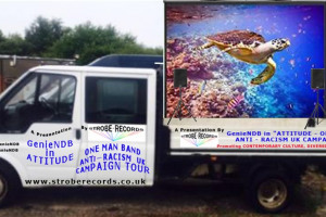 tour-van-side-a-view-with-projector-screen-and-speakers.jpg - One Man Anti – Racism Campaign UK Tour