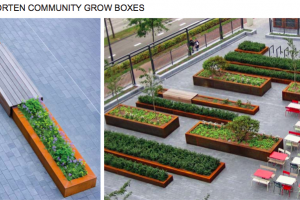 raised corten community grow boxes.png - Roman Gardens, Castlefield